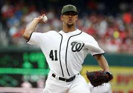 Washington Nationals starting pitcher Joe Ross throws during a baseball game against the San Diego Padres at Nationals Park, Sunday, May 28, 2017, in Washington. (AP Photo/Alex Brandon)