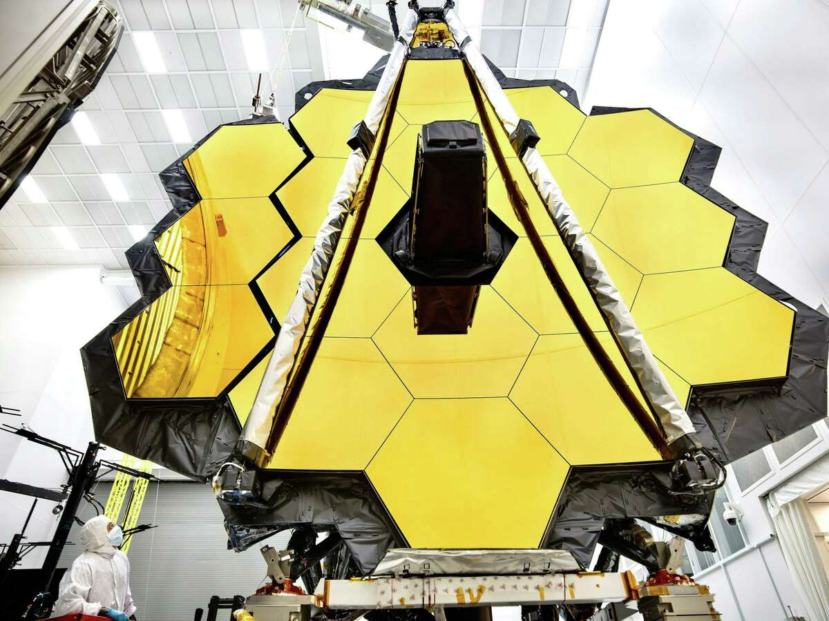 This NASA photo released on May 16, 2017 shows the primary mirror of NASA's James Webb Space Telescope inside a cleanroom at NASA's Johnson Space Center in Houston, where it will undergo its last cryogenic test before it is launched into space in 2018. (Photo by Chris Gunn/AFP/Getty Images)