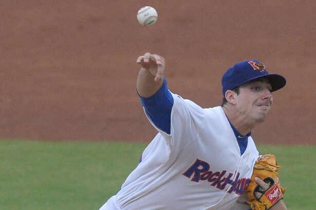 RockHounds starting pitcher Heath Fillmyer throws against Arkansas on June 1, 2017, at Security Bank Ballpark. James Durbin/Reporter-Telegram