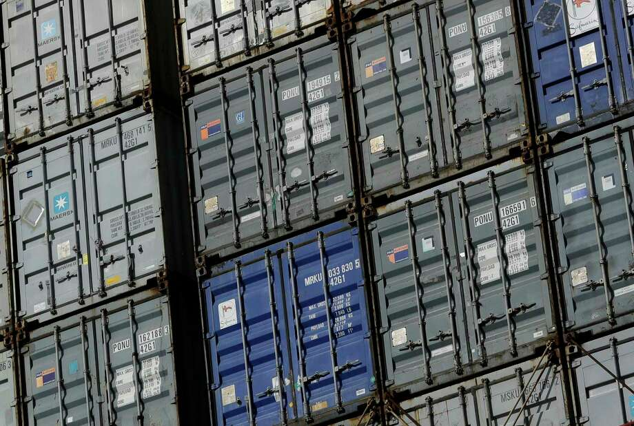 Containers wait to be unloaded from a ship at the Port of Baltimore. The U.S. trade deficit rose in April to the highest level since January. Photo: Patrick Semansky, STF / Copyright 2016 The Associated Press. All rights reserved.