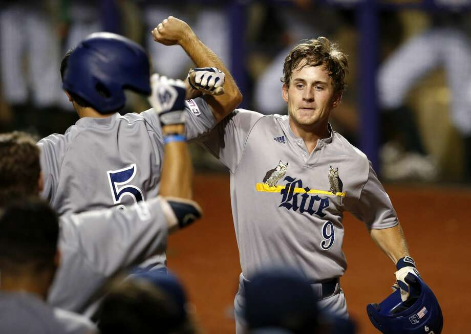 Rice's Dayne Wunderlich celebrates his two-run home run in the fifth inning of an NCAA college baseball tournament regional game against Southeastern Louisiana in Baton Rouge, La., Friday, June 2, 2017. (AP Photo/Gerald Herbert) Photo: Gerald Herbert/Associated Press