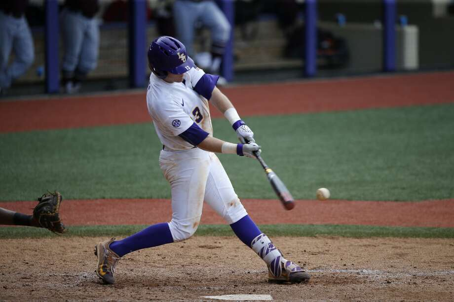 LSU's Nick Coomes hits an RBI single in the fifth inning of an NCAA college baseball tournament regional game against Texas Southern in Baton Rouge, La., Friday, June 2, 2017. LSU won 15-7. (AP Photo/Gerald Herbert) Photo: Gerald Herbert/Associated Press