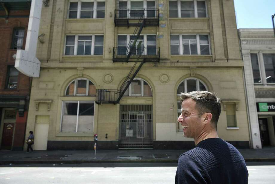 Starcity co-founder Jon Dishotsky outside the startup's building at 229 Ellis St., where 56 units of group housing are planned. Photo: Michael Short / Michael Short / Special To The Chronicle / Michael Short 2017