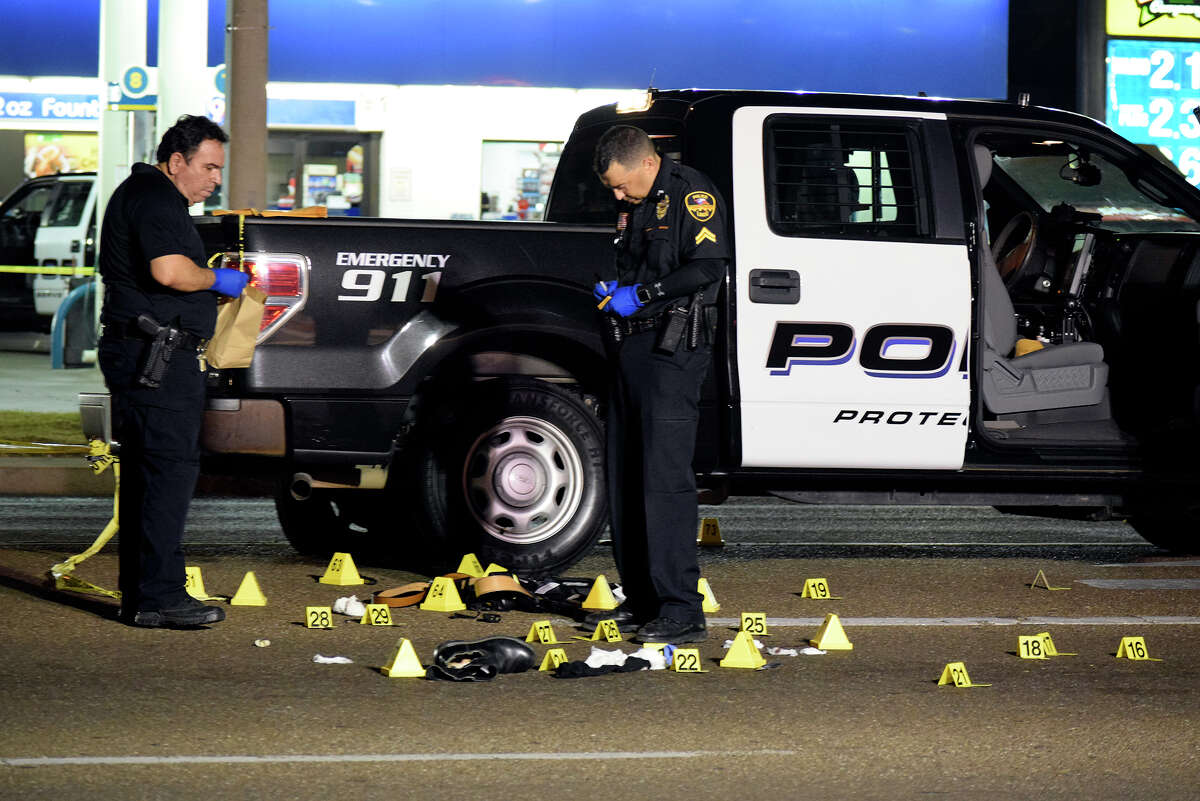 The Laredo Police Department analyzes the scene of a fatal shootout between a homicide suspect and LPD officers on June 2, 2017.