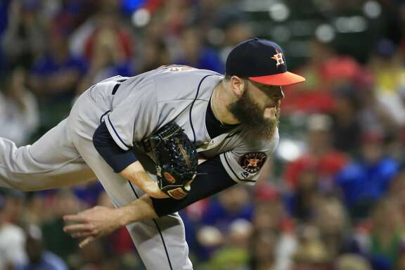 ARLINGTON, TX - JUNE 2: Dallas Keuchel #60 of the Houston Astros delivers against the Texas Rangers during the first inning at Globe Life Park in Arlington on June 2, 2017 in Arlington, Texas. (Photo by Ron Jenkins/Getty Images)