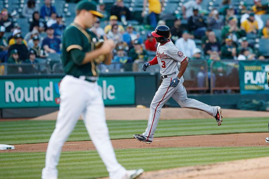OAKLAND, CA - JUNE 02:  Michael Taylor #3 of the Washington Nationals rounds the bases after hitting a home run off of Andrew Triggs #60 of the Oakland Athletics during the second inning at the Oakland Coliseum on June 2, 2017 in Oakland, California. (Photo by Jason O. Watson/Getty Images) Photo: Jason O. Watson, Getty Images