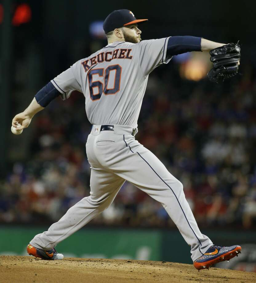 Houston Astros starting pitcher Dallas Keuchel throws during the first inning of a baseball game against the Texas Rangers in Arlington, Texas, Friday, June 2, 2017. (AP Photo/LM Otero) Photo: LM Otero/Associated Press