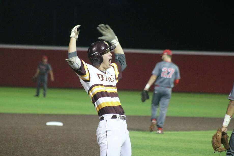 Chase Keng doesn't hide his emotions after connecting for an RBI triple in the first inning Friday night. His shot over the center fielder's head that scored the first run would be the only score Clay Aguilar would need in getting the win. Photo: Robert Avery