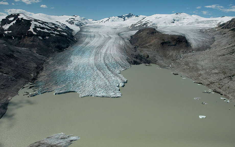 The Bridge Glacier has retreated over two miles in the past 40 years, with 75-90 percent of its ice lost due to surface melt by warming temperatures. This photo was captured in 2012. Photo: James Balog / copyright 2009 James Balog