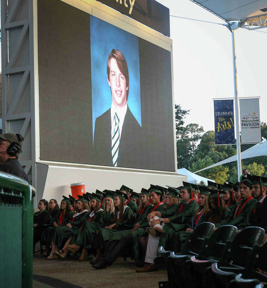 A photo of The Woodlands senior Grant Milton is pictured during The Woodlands High School commencement ceremony on Friday, June 2, 2017, at The Cynthia Woods Mitchell Pavilion. Photo: Michael Minasi/Houston Chronicle