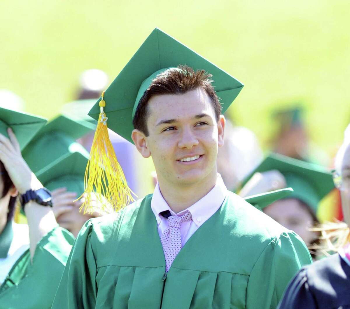Frank Alfano, 18, of Greenwich, during his Trinity Catholic High School commencement at the school in Stamford, Conn., Saturday, June 3, 2017.