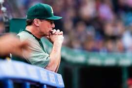 CLEVELAND, OH - MAY 30: Bob Melvin #6 of the Oakland Athletics watches from the dugout during the eighth inning against the Cleveland Indians at Progressive Field on May 30, 2017 in Cleveland, Ohio. (Photo by Jason Miller/Getty Images)