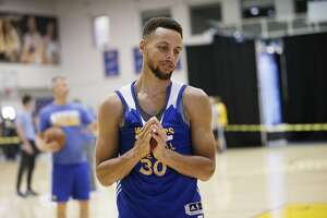 Golden State Warriors guard Stephen Curry (30) at the Warriors practice facility on Saturday, June 3, 2017, in Oakland, Calif. In the NBA Finals, the Warriors lead the series 1-0 against the Cleveland Cavaliers. They play Game 2 on Sunday.