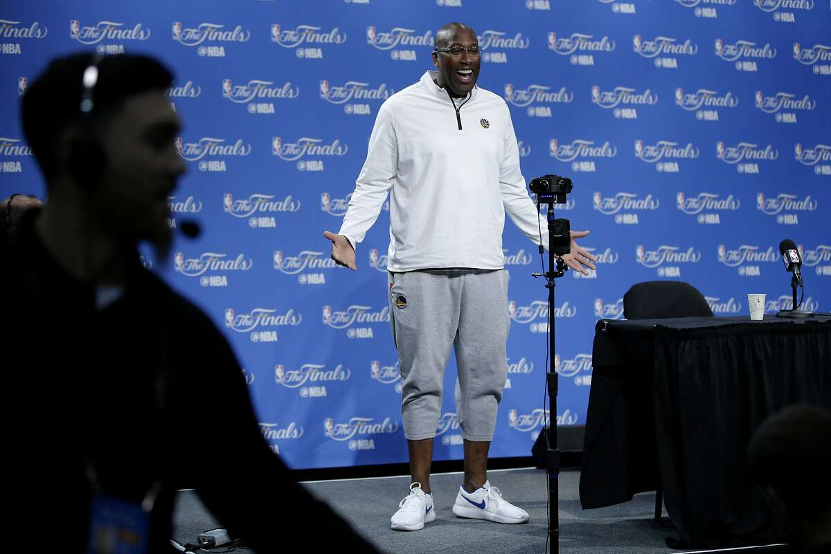 Golden State Warriors coach Mike Brown during a news conference at the Warriors practice facility on Saturday, June 3, 2017, in Oakland, Calif. In the NBA Finals, the Warriors lead the series 1-0 against the Cleveland Cavaliers. They play Game 2 on Sunday.