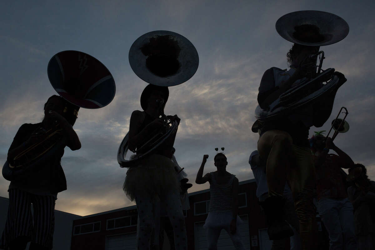Artesian Rumble Arkestra plays as the sun sets on the first day of HONK! Fest West 2017 in Georgetown on Friday, June 2, 2017.