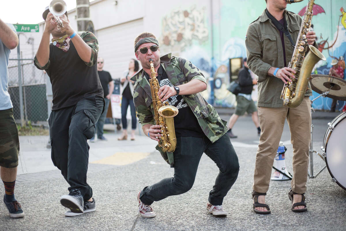 Guerrilla Fanfare Brass Band gets down and grooves.