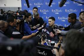 Golden State Warriors guard Klay Thompson during a news conference at the Warriors practice facility on Saturday, June 3, 2017, in Oakland.