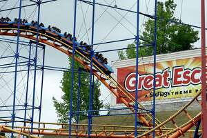 The Northeast's first inverting Virtual Reality Roller Coaster was publicly unveiled at the Great Escape Tuesday June 28, 2016 in Lake George, N.Y.   In partnership with Samsung Gear VR and Oculus, the Steamin' Demon roller coaster is now equipped with wireless headsets that transform riders into a futuristic battle to save the planet from an alien invasion. (Skip Dickstein/Times Union)