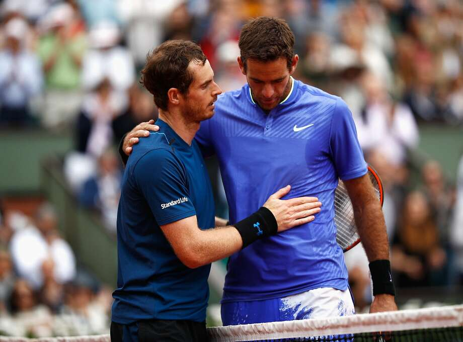 PARIS, FRANCE - JUNE 03:  Andy Murray of Great Britain and Juan Martin Del Potro of Argentina embrace after the men's singles third round match during day seven of the French Open at Roland Garros on June 3, 2017 in Paris, France.  (Photo by Adam Pretty/Getty Images) Photo: Adam Pretty, Getty Images