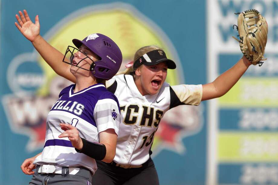 Lizzie Zwall #1 of Willis reacts as The Colony second baseman Taylor Curbow (13) celebrates the final out of the Class 5A UIL state championship game at Red and Charline McCombs Field, Saturday, June 3, 2017, in Austin. The Colony defeated Willis 5-2. Photo: Jason Fochtman, Staff Photographer / © 2017 Houston Chronicle