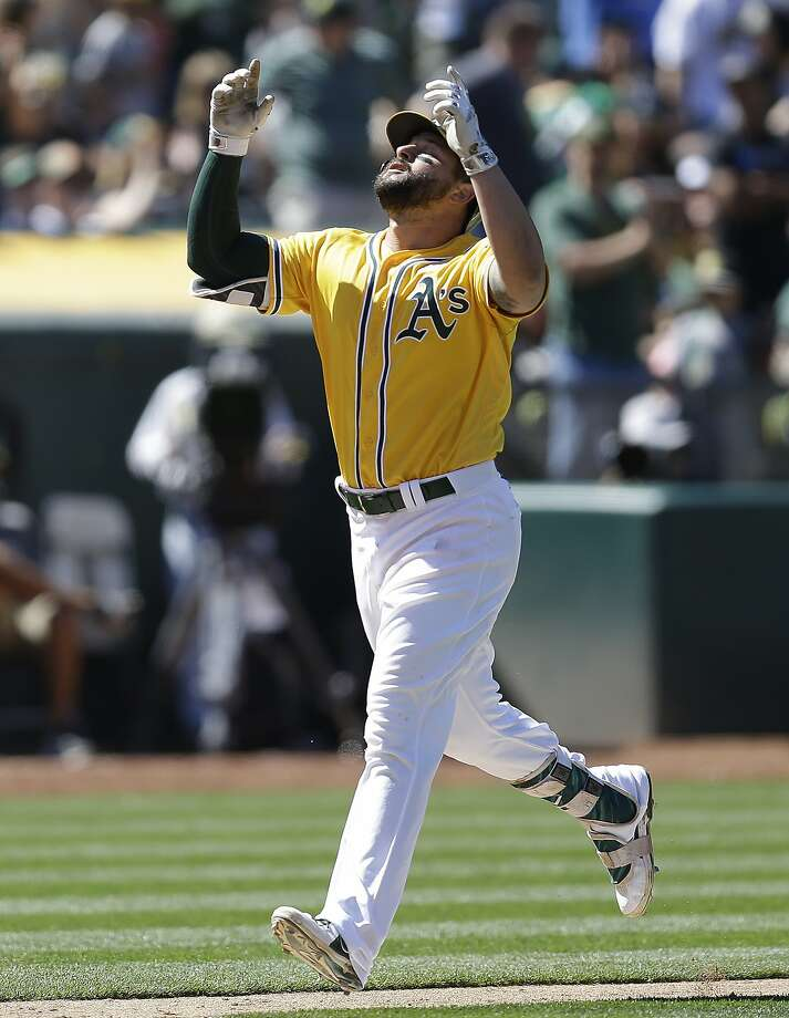 Oakland Athletics' Yonder Alonso celebrates after hitting a two run home run off Washington Nationals' Jacob Turner during the seventh inning of a baseball game Saturday, June 3, 2017, in Oakland, Calif. (AP Photo/Ben Margot) Photo: Ben Margot, Associated Press