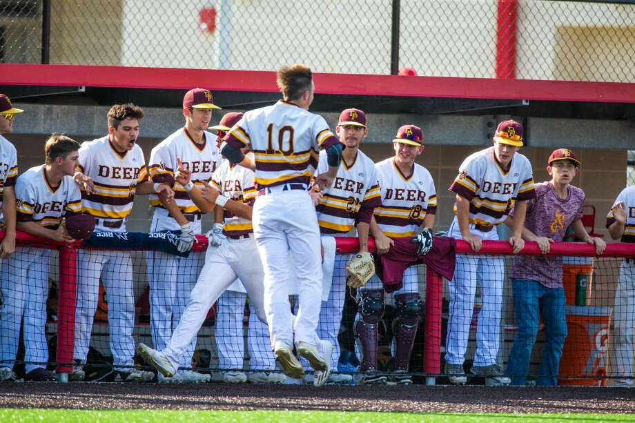 Deer Park Chase Keng (10) celebrates on the field after an initial walk to defeat Travis during Class 6A Region Final (Game 3) between Travis vs Deer Park at Crosby High School, Saturday, June 3 2017, in Crosby. Deer Park defeated Travis 2-1. (Juan DeLeon/for the Houston Chronicle ) Photo: Juan DeLeon/For The Chronicle