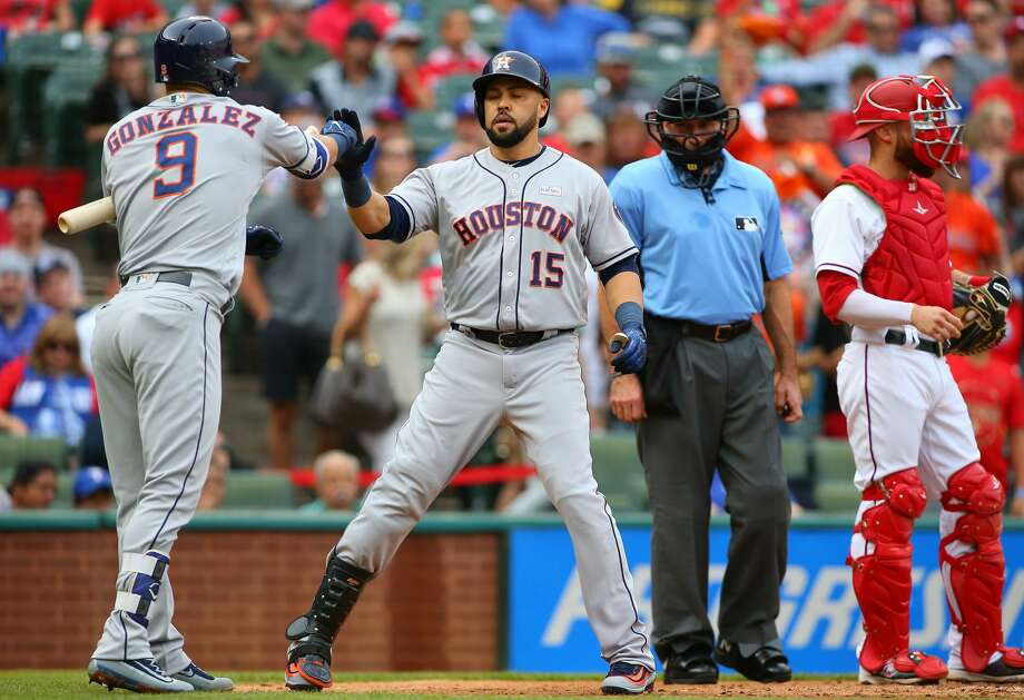 ARLINGTON, TX - JUNE 03: Marwin Gonzalez #9 of the Houston Astros congratulates Carlos Beltran #15 for scoring in the third inning against the Texas Rangers at Globe Life Park in Arlington on June 3, 2017 in Arlington, Texas. (Photo by Rick Yeatts/Getty Images) Photo: Rick Yeatts/Getty Images