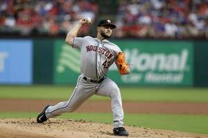 Houston Astros starting pitcher Lance McCullers Jr. (43) throws to the Texas Rangers in the first inning of baseball game, Saturday, June 3, 2017, in Arlington, Texas. (AP Photo/Tony Gutierrez)