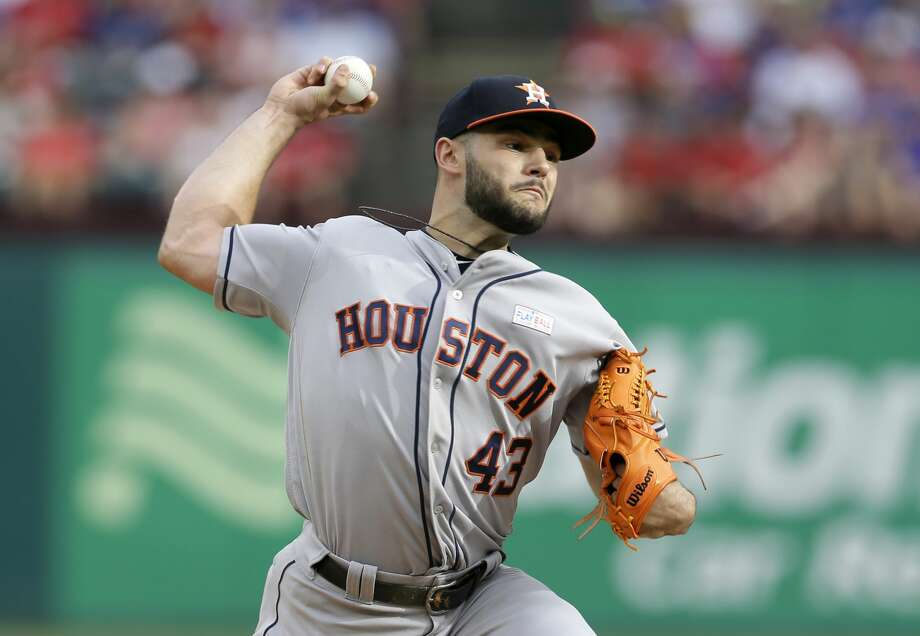 Houston Astros starting pitcher Lance McCullers Jr. throws to the Texas Rangers in the first inning of baseball game, Saturday, June 3, 2017, in Arlington, Texas. (AP Photo/Tony Gutierrez) Photo: Tony Gutierrez/Associated Press