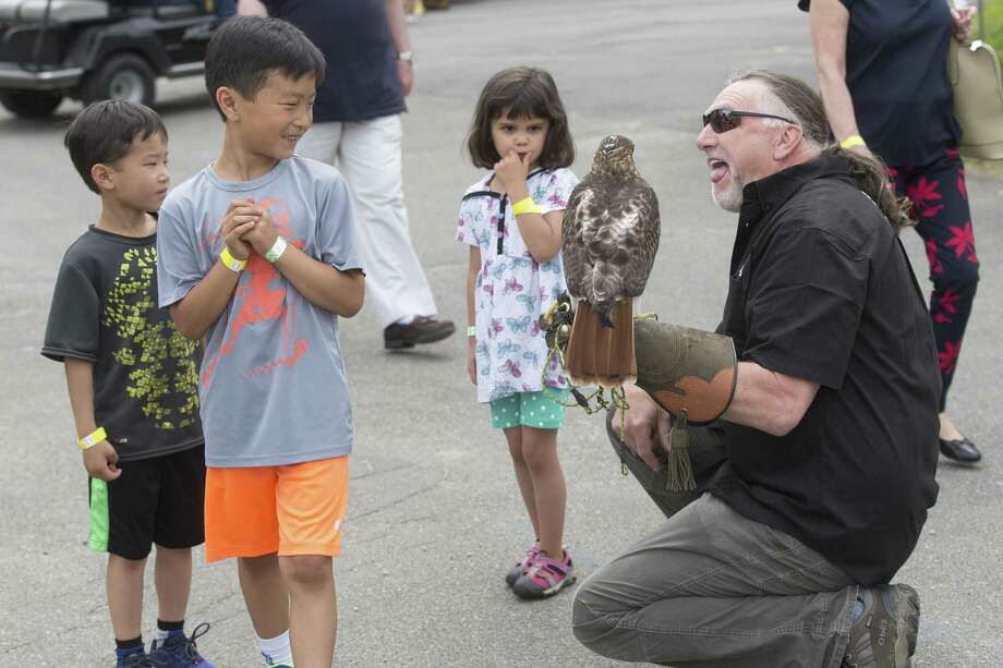 Ridgefielders Jake Velia, 5, Kyle Velia, 7 and Jolie Deane, 5, attended Birds of Prey Day at Green Chimneys Farm in Brewster, N.Y. on Sunday, June 4. Photo: Christopher Burns / For Hearst Connecticut Media / The News-Times Freelance