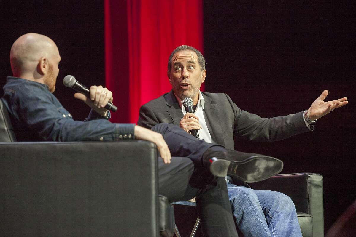 Jerry Seinfeld, with Bill Burr during Colossal Clusterfest at Civic Center Plaza in San Francisco, June 4, 2017. (Peter DaSilva/Special to The Chronicle)