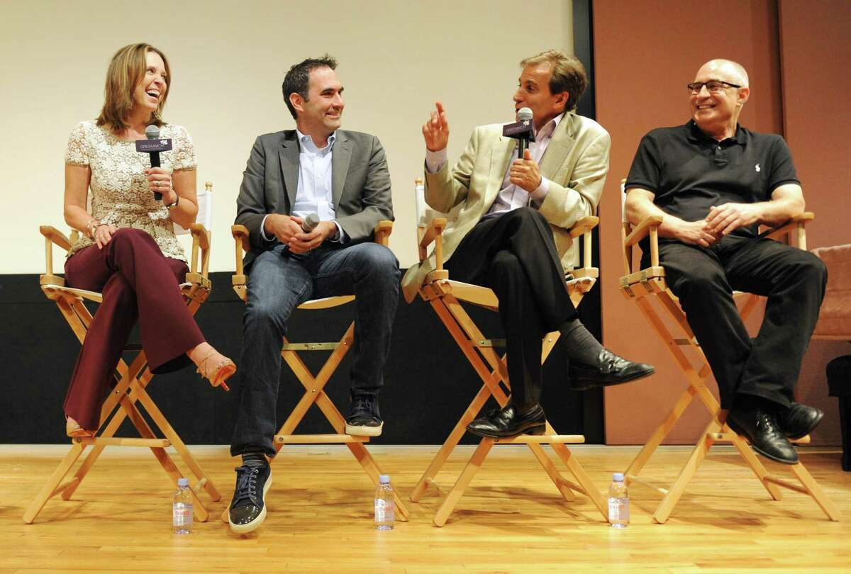 """Panelists, from left, ESPN anchor Hannah Storm, 30 For 30 Executive Producer Connor Schell, radio show host Chris """"Mad Dog"""" Russo, and Director Daniel Forer speak after the screening of the new ESPN 30 For 30 documentary """"Mike and the Mad Dog"""" as part of the Greenwich International Film Festival at Greenwich Library's Cole Auditorium in Greenwich, Conn. Sunday, June 4, 2017. The film documents the journey and eventual break up of sports talk show duo Mike Francesa and Chris """"Mad Dog"""" Russo."""