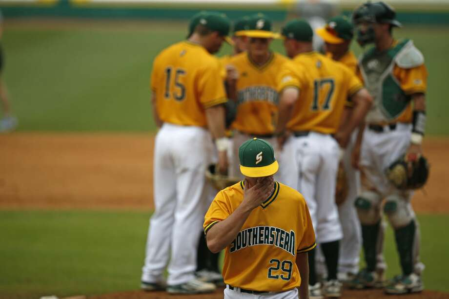 Southeastern Louisiana pitcher Carlisle Koestler (29) walks to the dugout after being pulled in the fourth inning of an NCAA college baseball tournament regional game against Rice in Baton Rouge, La., Sunday, June 4, 2017. Rice won 9-5. (AP Photo/Gerald Herbert) Photo: Gerald Herbert/Associated Press