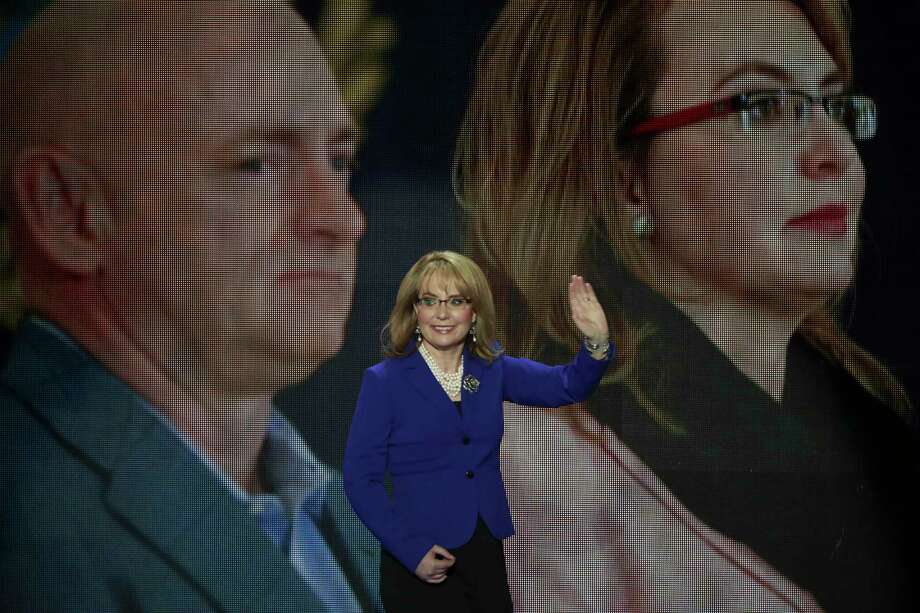 FILE - Former Rep. Gabrielle Giffords of Arizona at the Democratic National Convention at the Wells Fargo Arena in Philadelphia, July 27, 2016. The USS Gabrielle Giffords -- named for Giffords, who survived an assassination attempt -- is to be commissioned next weekend. (Damon Winter/The New York Times) Photo: DAMON WINTER, STF / NYTNS