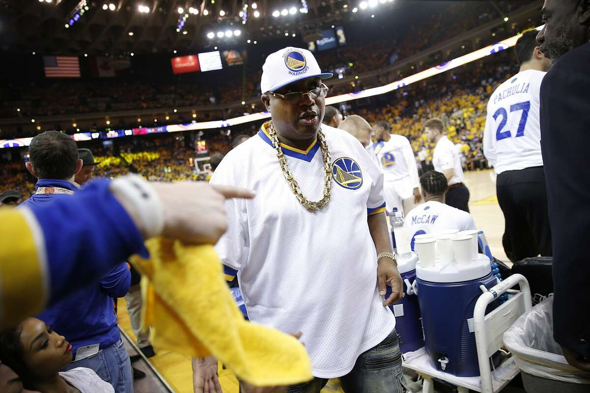 Rapper E-40 is in attendance for Game 2 of the NBA Finals between the Golden State Warriors and the Cleveland Cavaliers on Sunday, June 4, 2017, at Oracle Arena in Oakland, Calif.