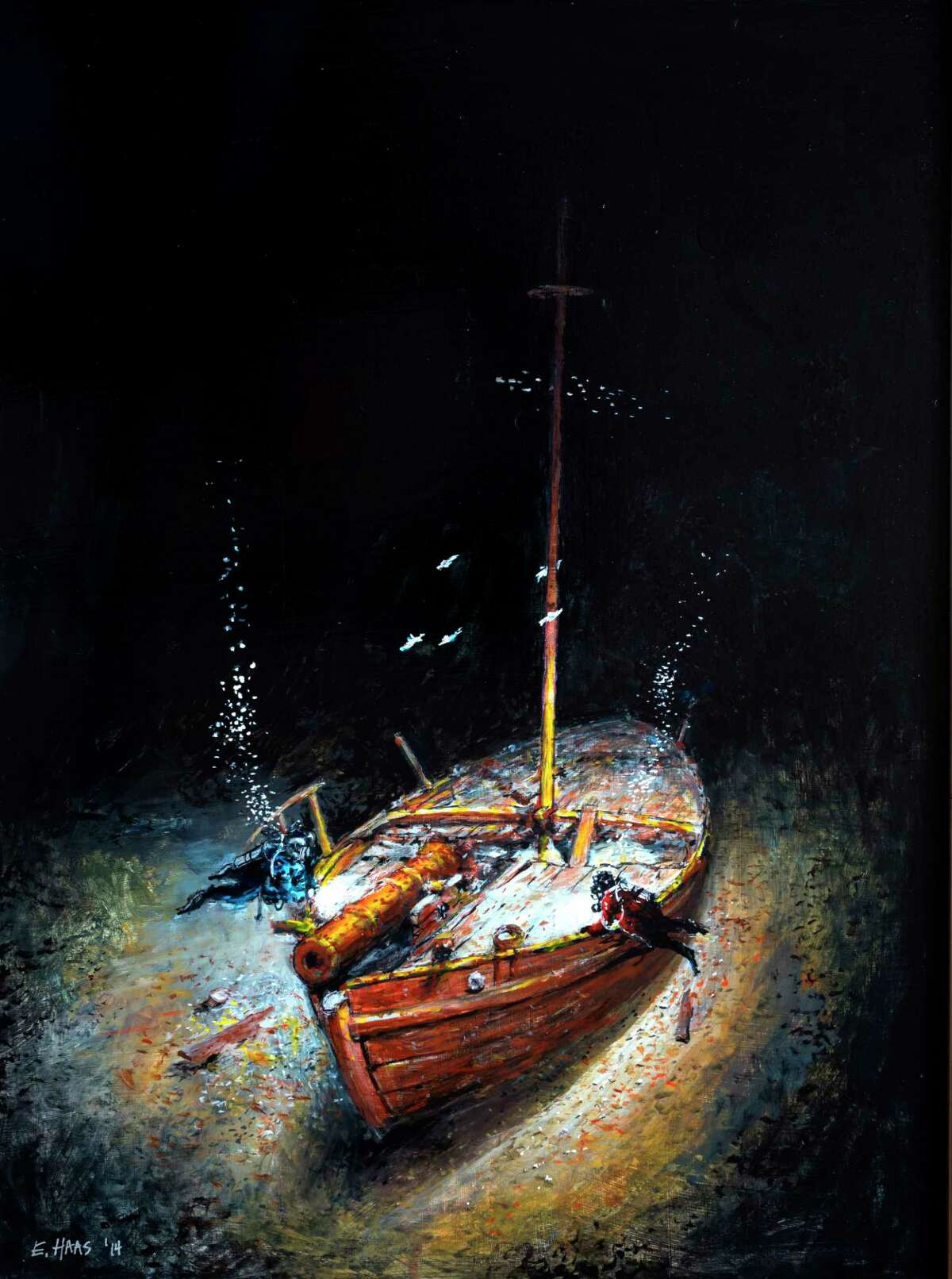 This image of a painting by Ernie Haas provided by the Lake Champlain Maritime Museum shows an artist's rendition of divers hovering over the Revolutionary War gunboat