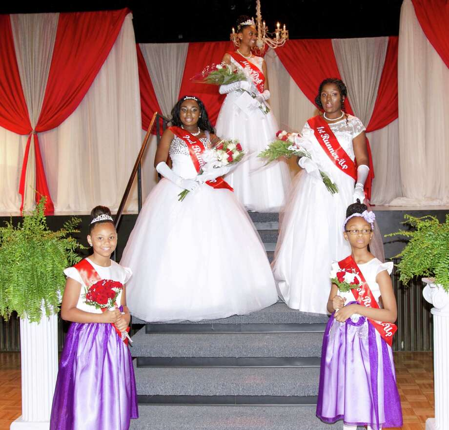 Top tier: Miss Deb 2017: Langston Williams. On the middle tier is, left to right, is second runner-up- Kiyonna Burden and first runner-up Naava Holder. Bottom tier, left to right, is Miss Delta Pearl 2017 Tatiana Tune and first runner-up Shamairah Baber.