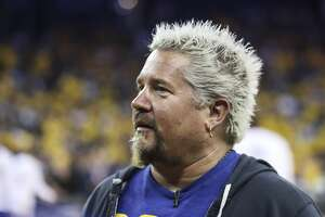 Guy Fieri is seen during Game 2 of the 2017 NBA Finals at Oracle Arena on Thursday, March 17, 2005 in Oakland, Calif.