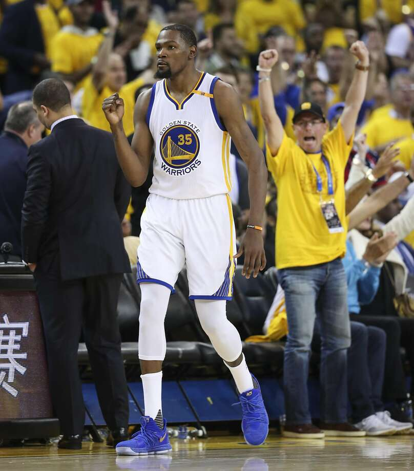 f646e012e4f Golden State Warriors  Kevin Durant reacts in the third quarter during Game  2 of the
