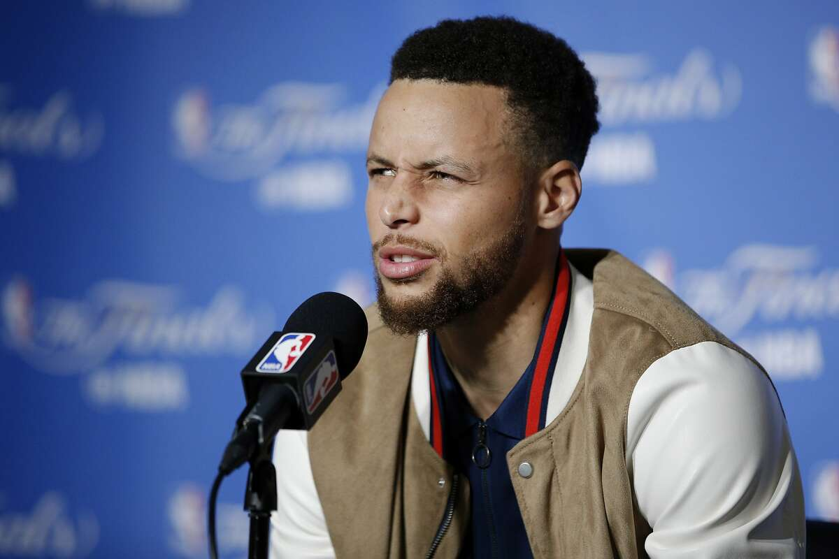 Golden State Warriors guard Stephen Curry (30) during a news conference following Game 2 of the NBA Finals between the Golden State Warriors and the Cleveland Cavaliers on Sunday, June 4, 2017, at Oracle Arena in Oakland, Calif.