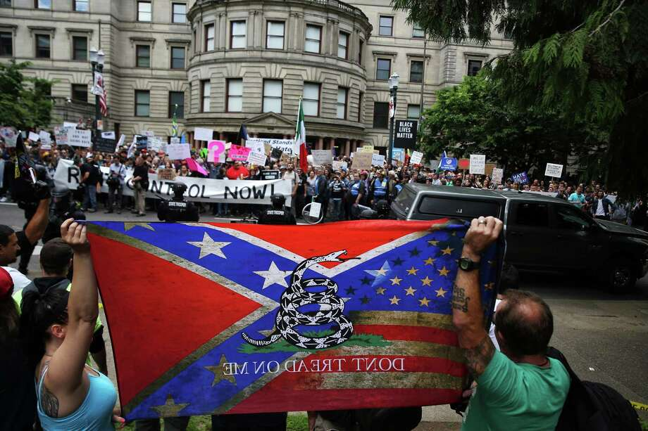 Take a look at some of the white power and neo-Nazi organizations identified by the Southern Poverty Law Center as having ties to the Pacific Northwest and Northern California. Among them is Vanguard America, a white nationalist organization linked to the man suspected of driving into an anti-racist protest in Charlottesville, Va. Photo: GENNA MARTIN, SEATTLEPI.COM / SEATTLEPI.COM