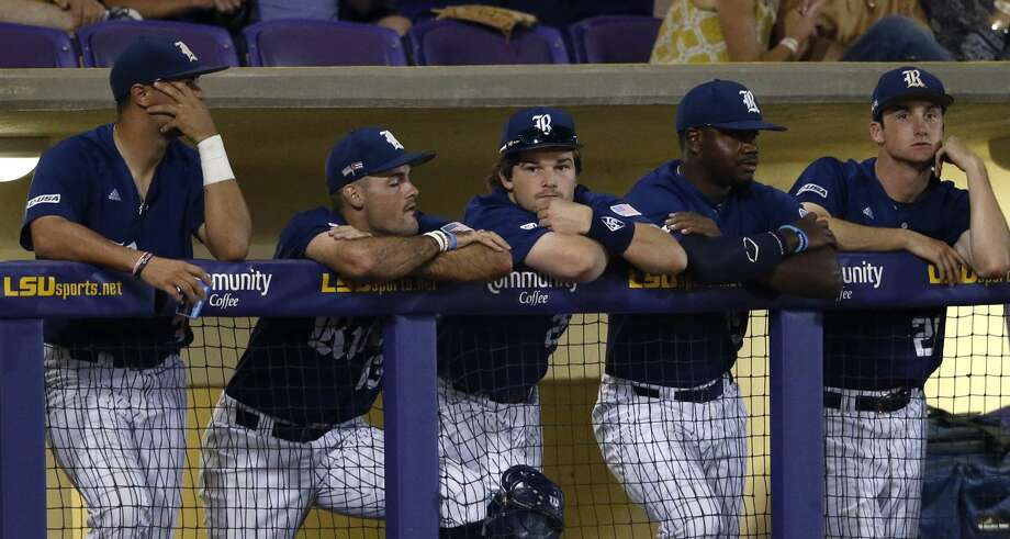The Rice dugout watches during the ninth inning of an NCAA college baseball tournament regional game against LSU in Baton Rouge, La., Sunday, June 4, 2017. LSU won 5-0 to advance to the Super Regionals. (AP Photo/Gerald Herbert) Photo: Gerald Herbert/Associated Press