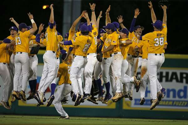LSU celebrates their win over Rice after an NCAA college baseball tournament regional game in Baton Rouge, La., Sunday, June 4, 2017. LSU won the regional 5-0 to advance to the Super Regionals, which they will host next week. (AP Photo/Gerald Herbert)