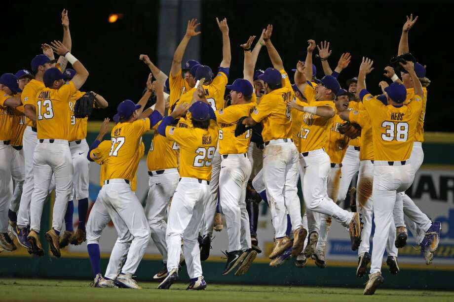 LSU celebrates their win over Rice after an NCAA college baseball tournament regional game in Baton Rouge, La., Sunday, June 4, 2017. LSU won the regional 5-0 to advance to the Super Regionals, which they will host next week. (AP Photo/Gerald Herbert) Photo: Gerald Herbert/Associated Press