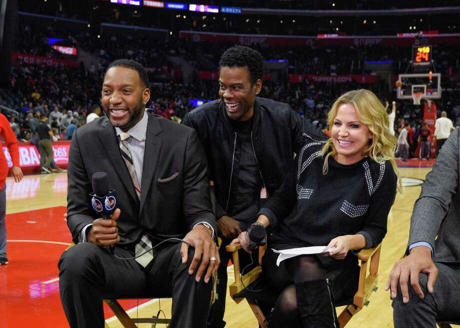 Chris Rock joins ESPN's Tracy McGrady (left) and Michelle Beadle on a Dec. 7, 2016, telecast. Photo: Noel Vasquez / Getty Images / 2016 Noel Vasquez