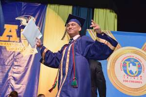 Alexander High School student celebrates after receiving their diploma during the 2017 Alexander High School Commencement Ceremony held at the LEA Saturday May 03, 2017.