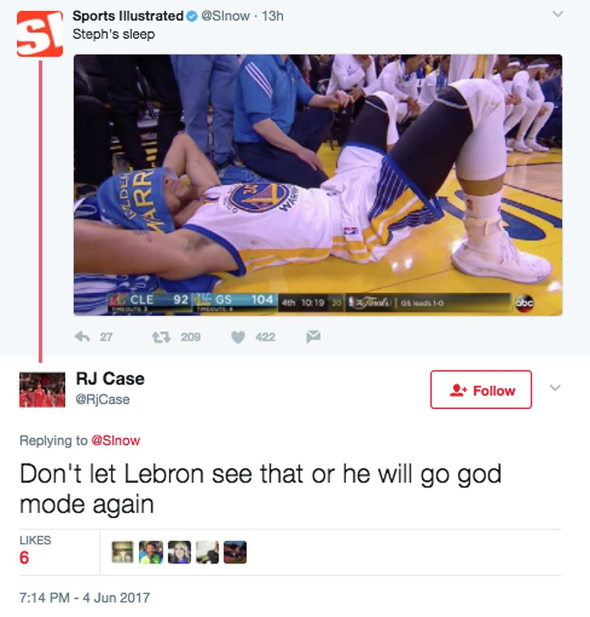 People on Twitter had a lot to say about Golden State Warriors point guard Steph Curry lying down on the sidelines early in the fourth quarter on Sunday night in Game 2 of the 2017 NBA Finals.