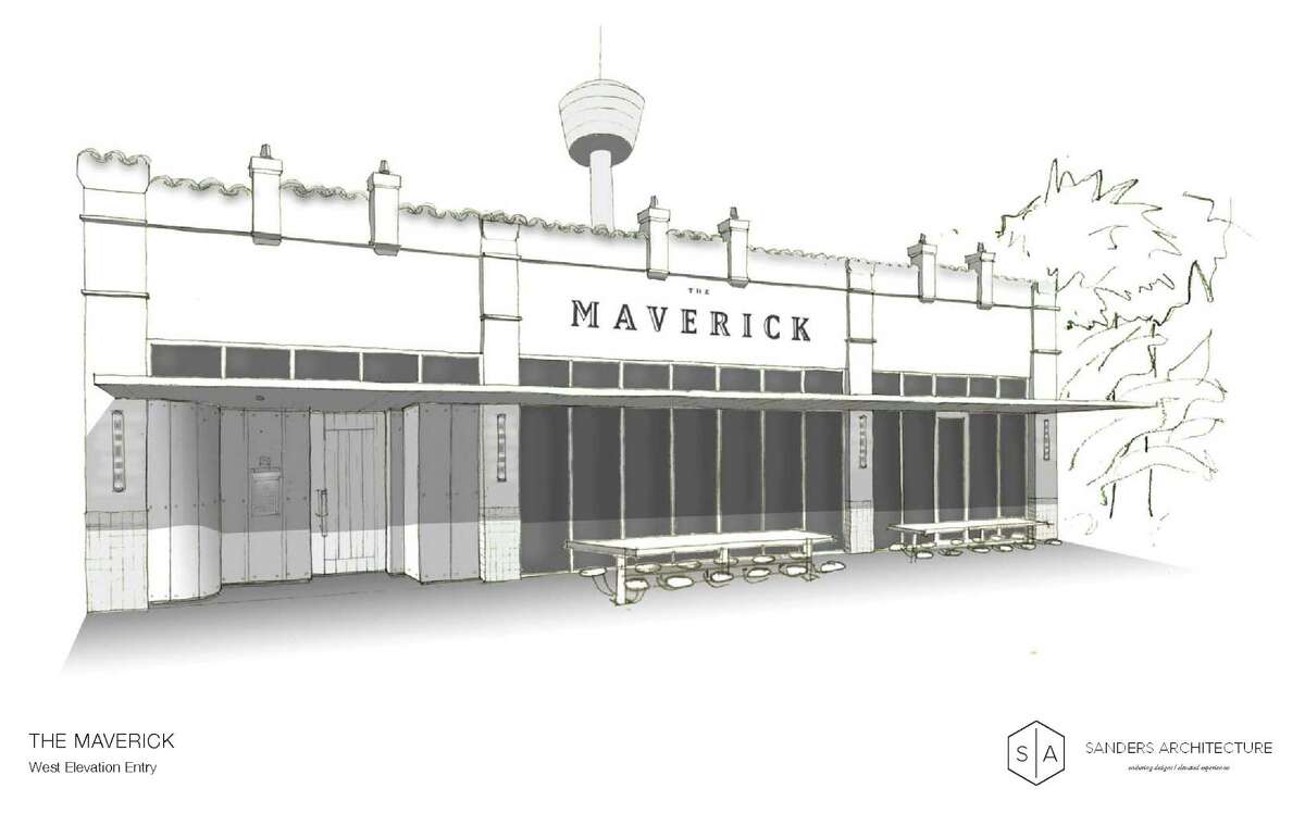A rendering of The Maverick, a new restaurant in the planning stages for 710 S. St. Mary's St. in San Antonio. This rendering, from public-record documents filed with the city's Historic and Design Review Commission, is by Chris Sanders of the Austin firm Sanders Architecture.