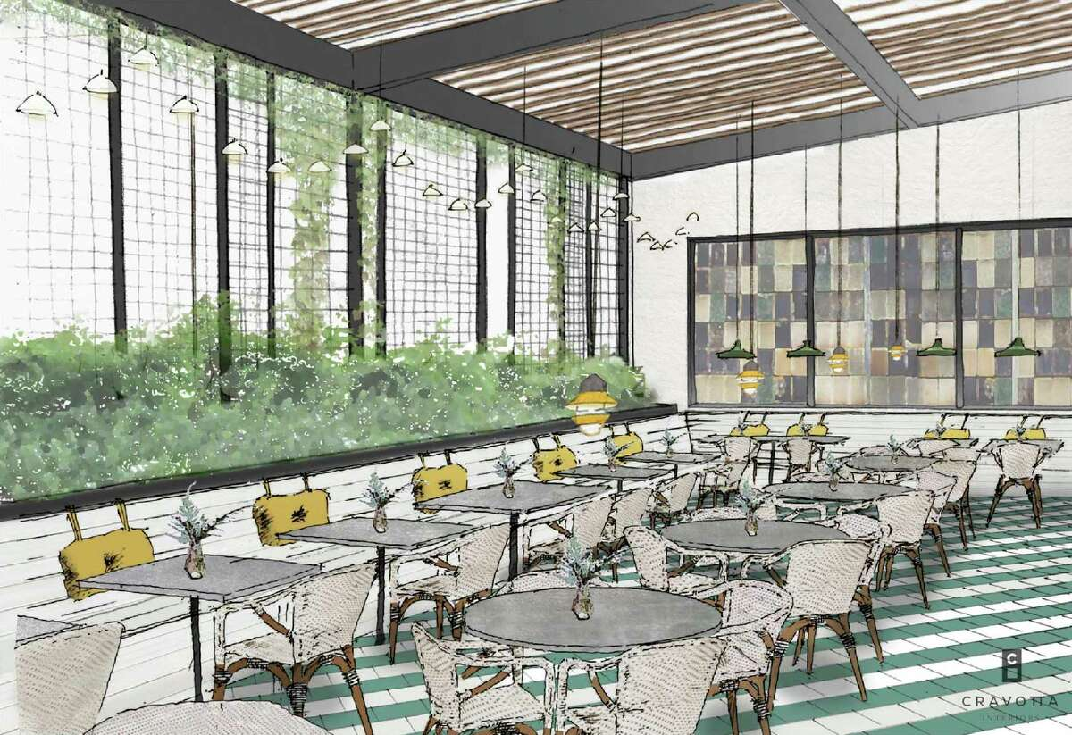 A rendering of the interior of The Maverick, a new restaurant in the planning stages for 710 S. St. Mary's St. in San Antonio. This rendering, from public-record documents filed with the city's Historic and Design Review Commission, shows a design in collaboration with Cravotta Interiors.