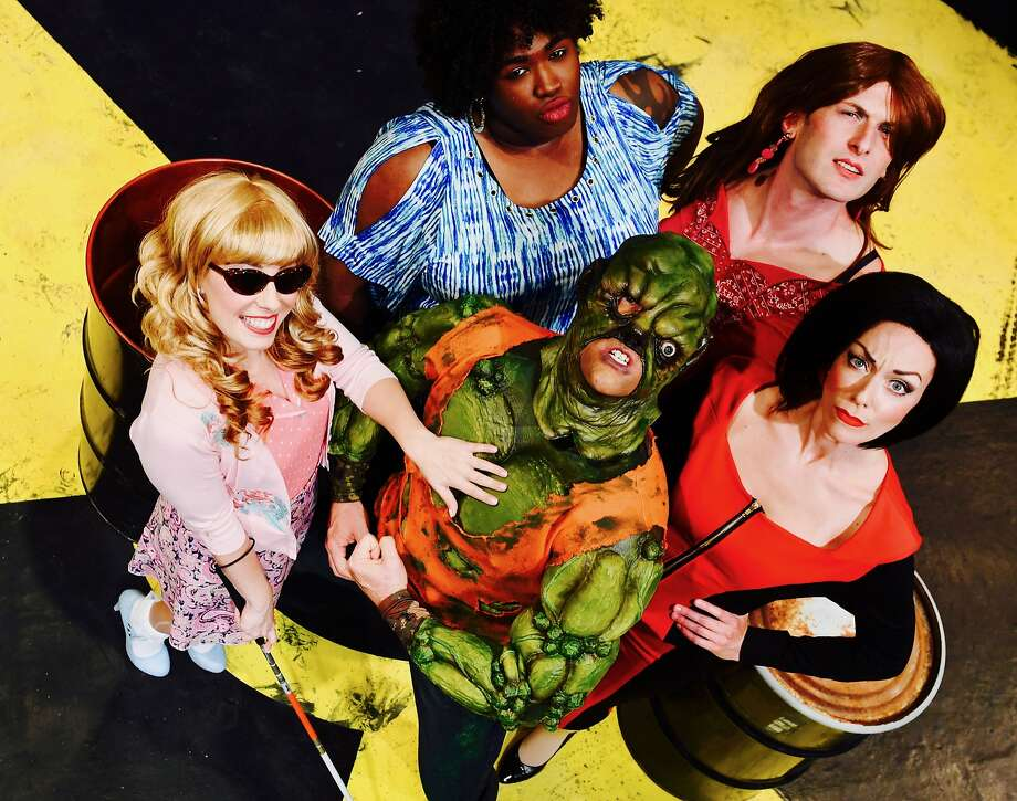 "Clockwise from left: Courtney Hatcher, Brandon Noel Thomas, Joshua Marx, Allison F. Rich and Will Springhorn Jr. in San Jose Stage Company's ""The Toxic Avenger."" Photo: Dave Lepori, San Jose Stage Company"